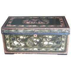 Large Hand-Painted Leather and Camphor Wood Chinese Export Trunk
