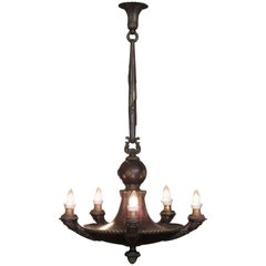 19th Century French Empire Patinated Bronze Chandelier with Neoclassical Motifs