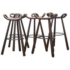 Set of Five Sergio Rodrigues Style Brutalist Bar Stools