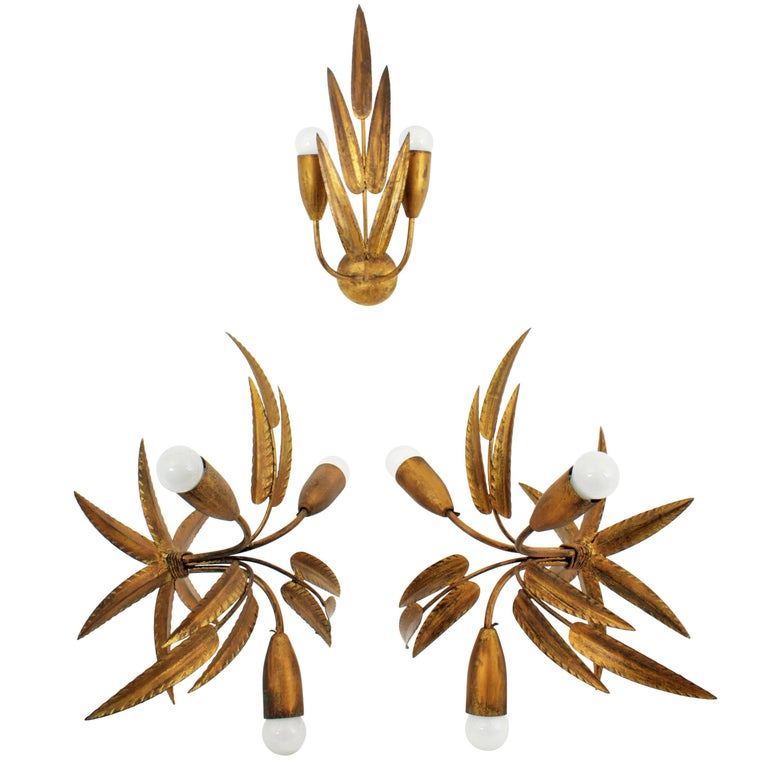 Set of Two Leaf Design Gilt Iron Ceiling Sconces and Wall Sconce, Spain, 1960s For Sale
