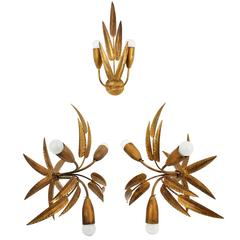 Set of Two Leaf Design Gilt Iron Ceiling Sconces and Wall Sconce, Spain, 1960s