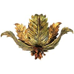 Spanish 1950s Gilt Iron and Green Flower Burst Flush Mount