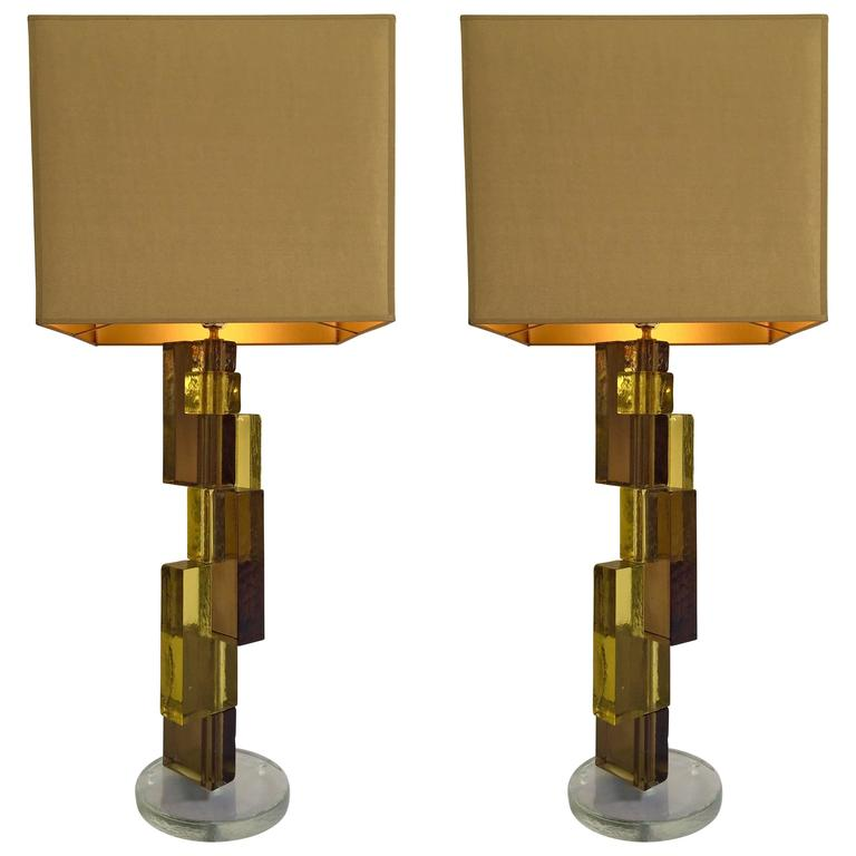 Pair of Lamps Cubic Murano, Italy, Contemporary