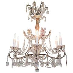 Early 20th Century Italian Genoese Giltwood and Ivory Painted Crystal Chandelier