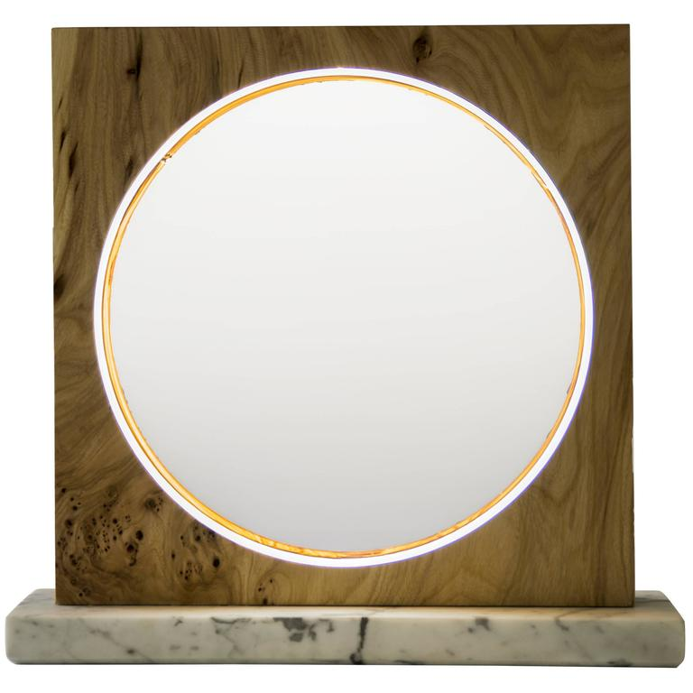 Eclipse, Tabletop Light Sculpture in Elm and Marble by Kalin Asenov For Sale