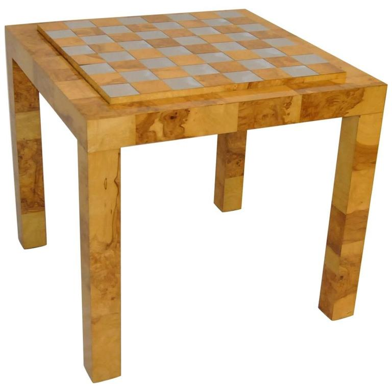 Patchwork Burl and Polished Brass Game Table by Paul Evans