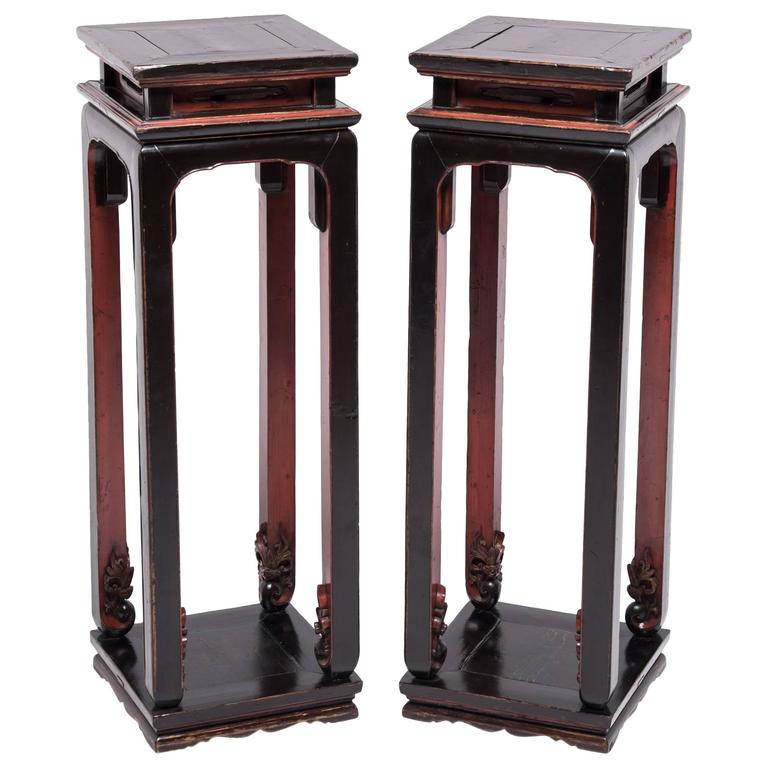 Pair of Chinese Tall Red and Black Display Tables