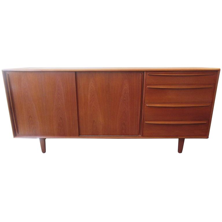 Danish Teak Credenza with Drawers and Sliding Doors 1