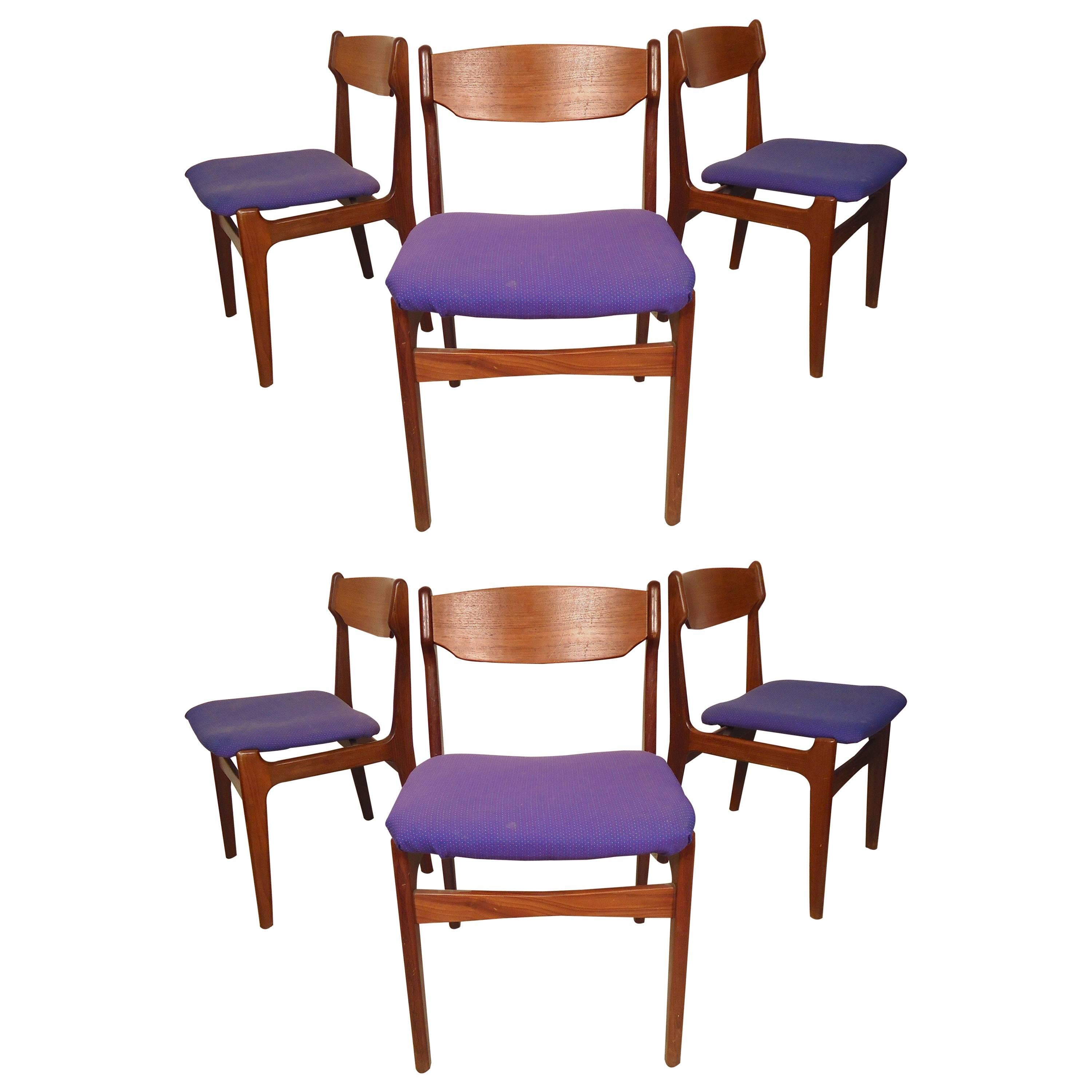 Set of Six Erik Buch Style Dining Chairs