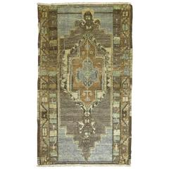 Vintage Turkish Oushak Rug in Grays & Blues