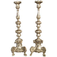 Pair of Tall 17th Century Silverleaf Candlesticks from Italy