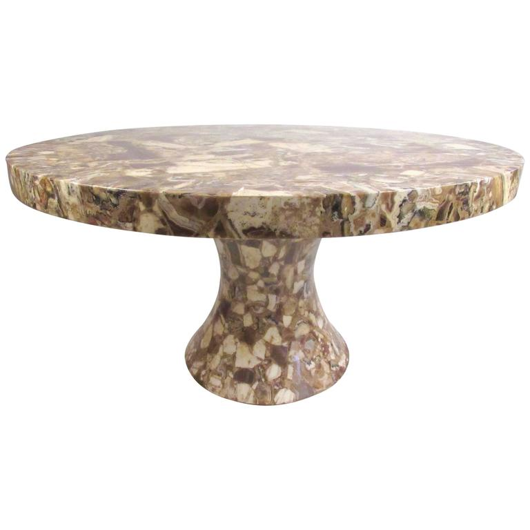 Round Pedestal Dining Table by Muller's Onyx