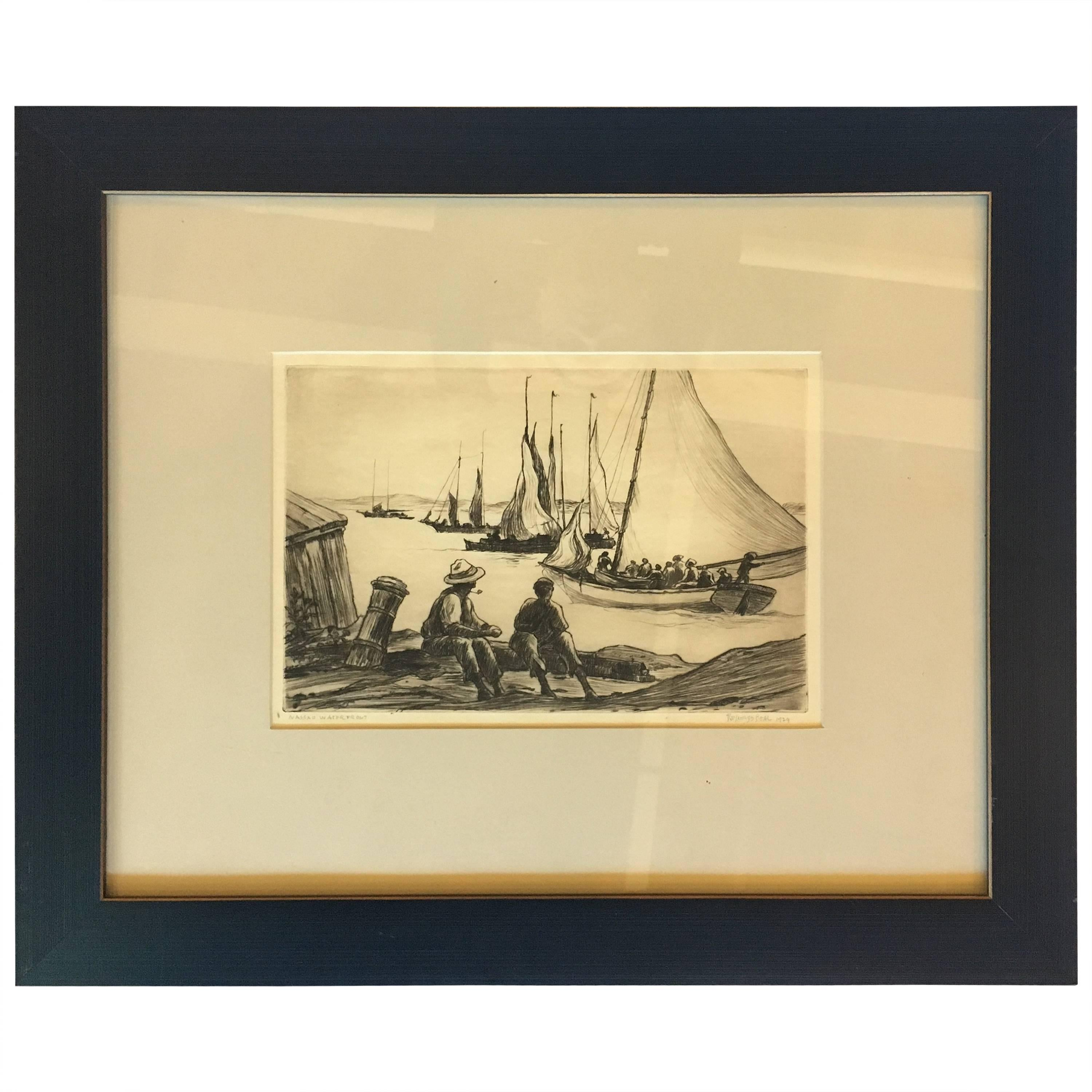 """Reynolds Beal Drawing """"Nassau Waterfront"""" Signed and Dated 1929"""