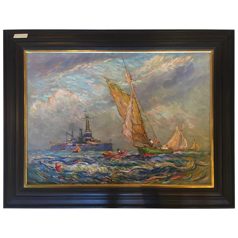 "Impressionist Oil on Canvas by Reynolds Beal Dated 1928 ""U.S.S. Utah"""