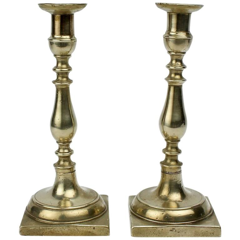 Pair of Early 19th Century Continental Brass Candlesticks