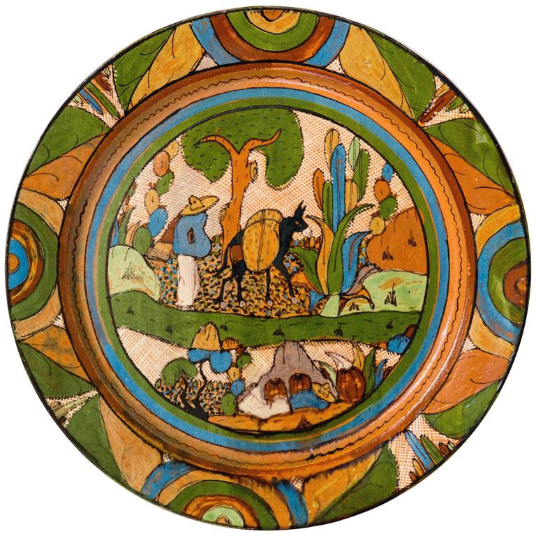 Tlaquepaque 1930s Mexican Hand-Painted Ceramic Charger Tray
