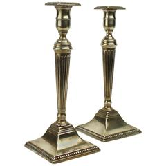 Pair of English 18th Century Georgian Fluted and Tapered Brass Candlesticks