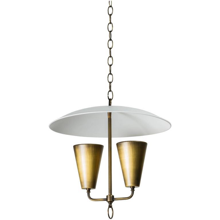 Mid-Century Lightolier Style Brass Pendant 1