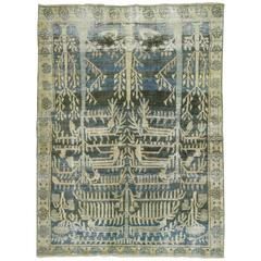 Antique Persian Malayer Shabby Chic Rug in Charcoal and Blue