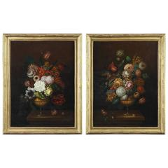 Pair of Oil on Canvas Paintings, Flower Bouquets from 19th Century