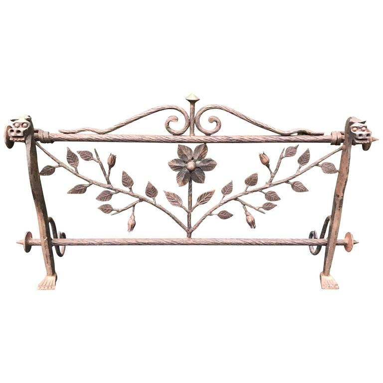 Early 1900 Forged In Fire Wrought Iron Fireplace Screen Or Rack With Dragons For Sale At 1stdibs