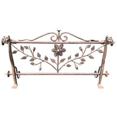 Early 1900 Forged in Fire Wrought Iron Fireplace Screen or Rack with Dragons