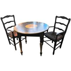 Fabulous Hand-Painted Persian Blue Breakfast Table & Two Chairs, Shabby Chic Be