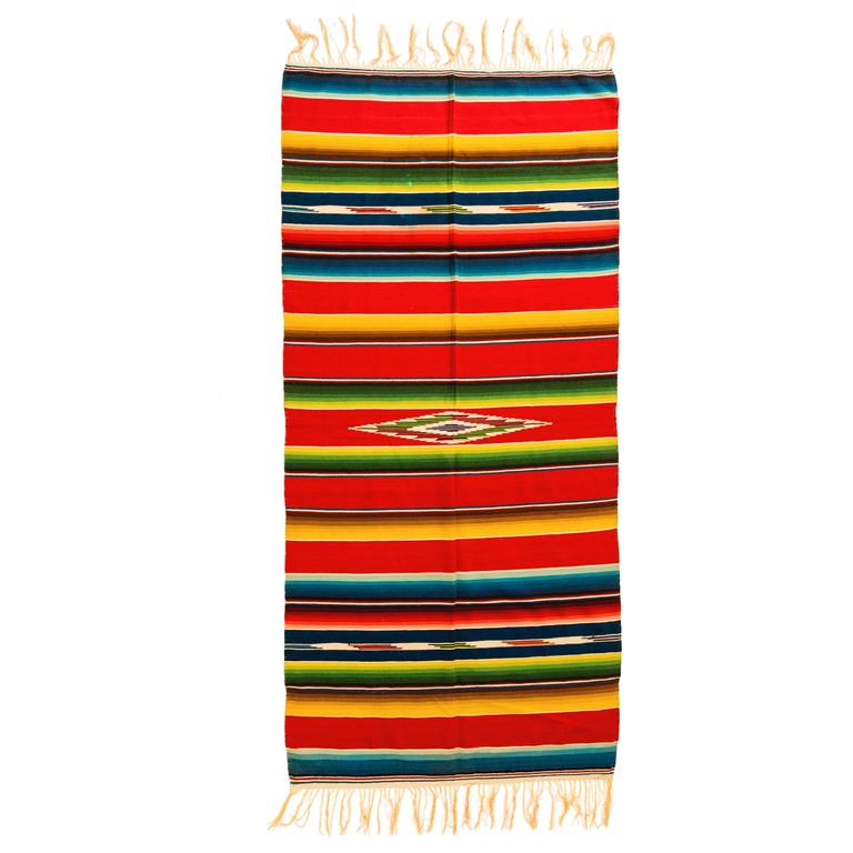 Vintage Saltillo Mexican Multicolored Stripe Wool Serape Blanket