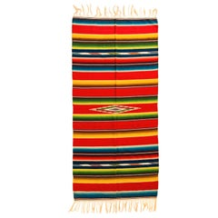Vintage Saltillo Mexican Multicolored Stripe Wool Serape Blanket