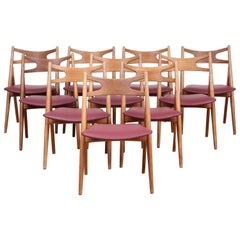 Mid-Century Modern Set of Ten Sawback Chairs by Hans J. Wegner