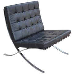Knoll Inspired Modern Barcelona Chair in Black Leather and Chrome