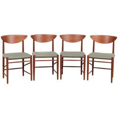 Mid-Century Modern Danish Set of 6 Chairs in Teck Model 316 by Hvidt & Mølgaard