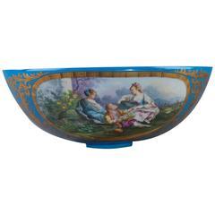 19th Century Large Porcelain Bowl in Sevres Taste