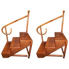 Pair of Faux Bamboo Style Bentwood Library Steps