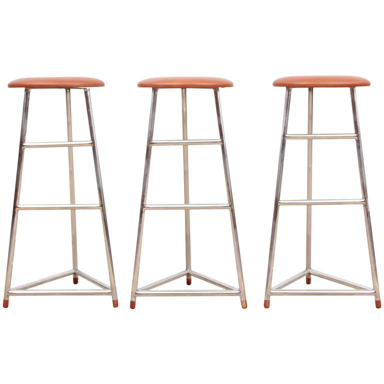 Mid-Century Modern Style Bar Stool in Steel and Leather