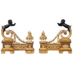 Mid-19th Century Gilt and Patinated Bronze Andirons in Louis XVI Style