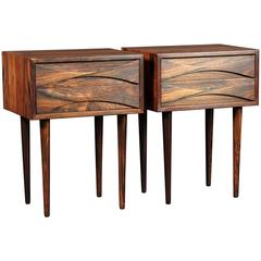 Danish Mid-Century Modern Night Tables in Rosewood by Arne Vodder