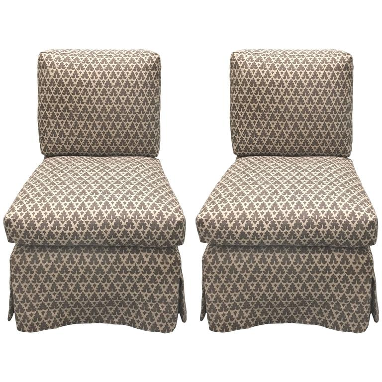 Pair of Billy Baldwin–style Quadrille-upholstered slipper chairs by Donghia, 1980s