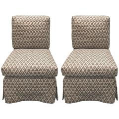 Pair of Billy Baldwin Style Quadrille Upholstered Slipper Chairs by Donghia