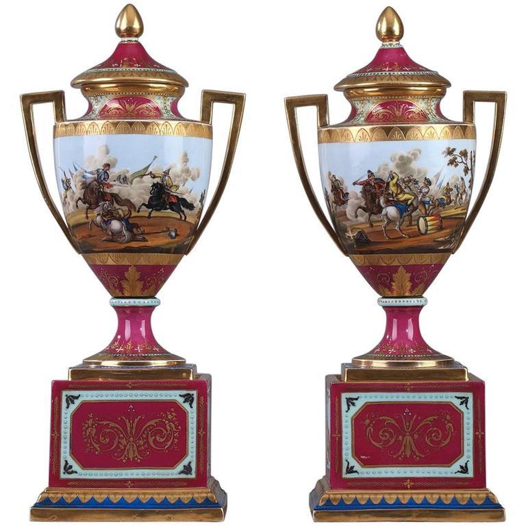 19th Century Pair of Vienna Porcelain Vases
