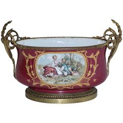 19th Century Sevres Centerpiece in Bronze Ormolu and Porcelain