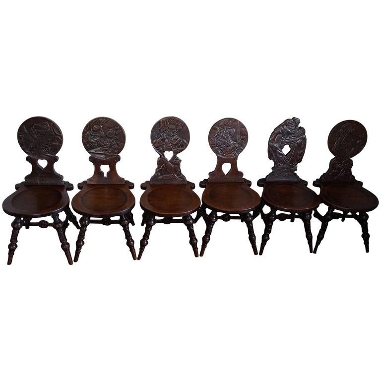 Six Antique & Hand-Carved German Tavern / Drinking Chairs with Aphorisms  Sayings For Sale - Six Antique And Hand-Carved German Tavern / Drinking Chairs With