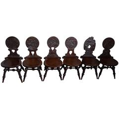 Six Antique & Hand-Carved German Tavern / Drinking Chairs with Aphorisms Sayings