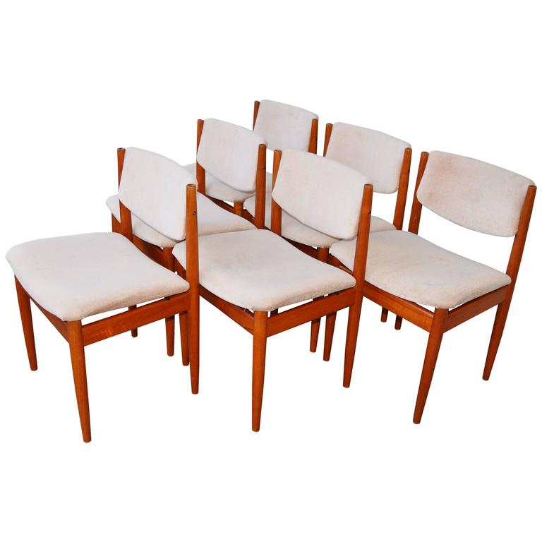 Set Six Teak Finn Juhl Dining Chairs Model 197 For Sale