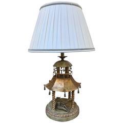 Whimsical Gilt Pagoda Temple Lamp