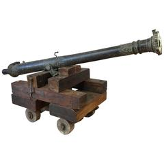 18th Century Bronze Lantaka Cannon on Custom Wood Carriage