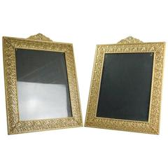 Antique Pair of Oversized French Gilt Reticulated Floral and Foliate Frames