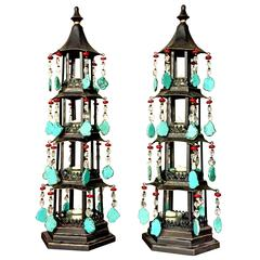 Pair of Jeweled Candle Pagodas