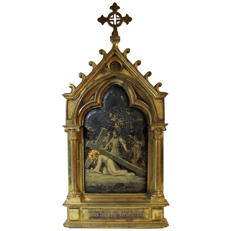Oil on Copper Religious Painting in Gilt Bronze Frame