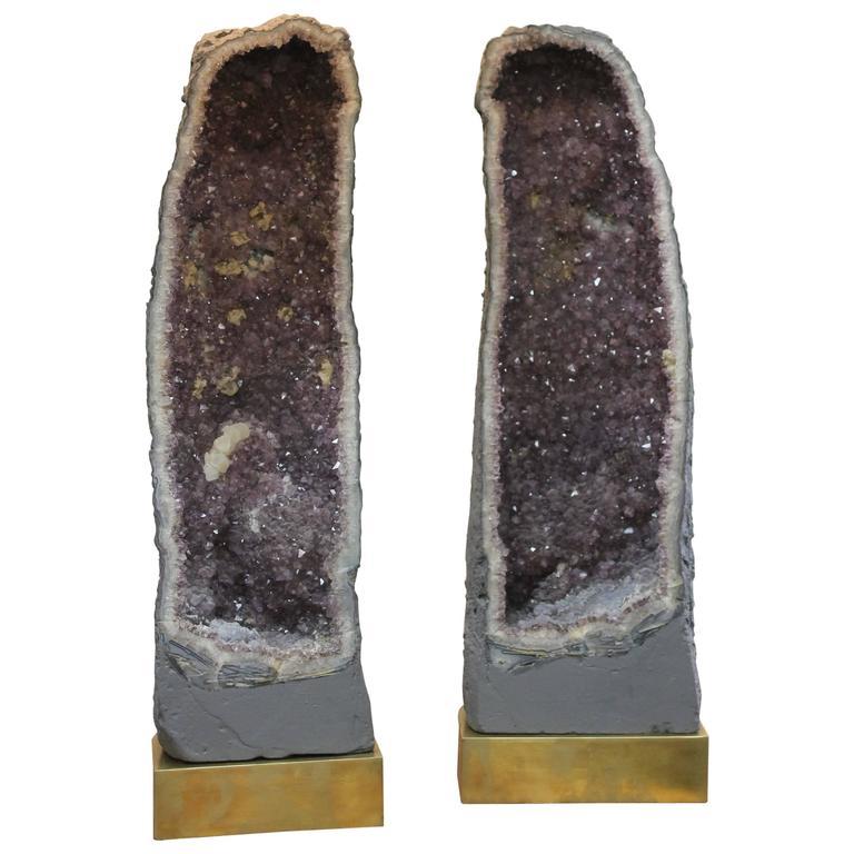 Monumental Pair of Amethyst Geode Lamps